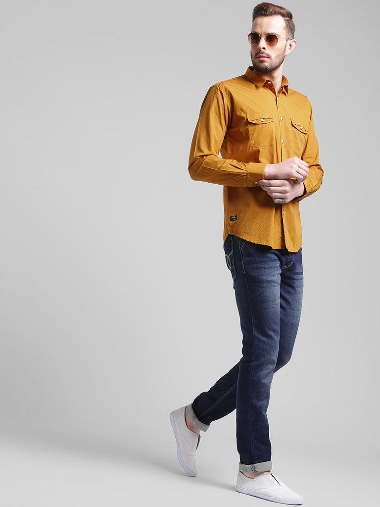 cobb khaki slim fit casual shirt