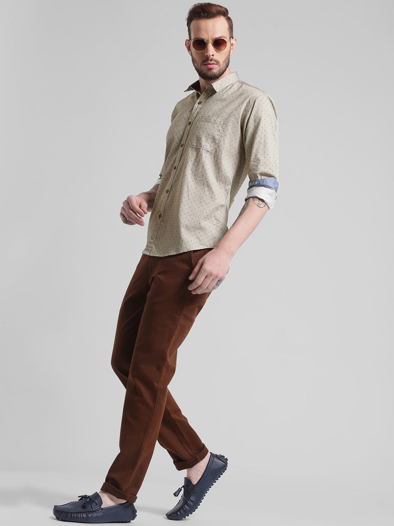 cobb brown slim fit casual shirt