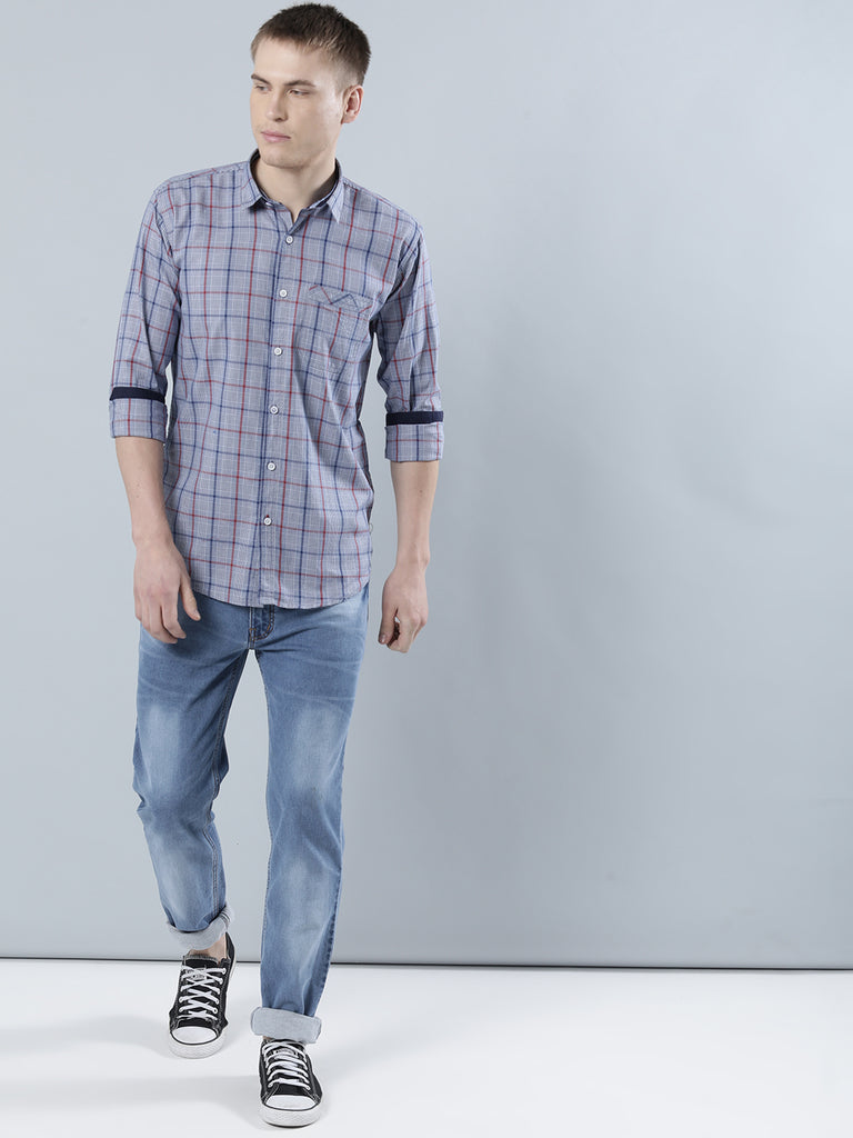 COBB Blue Checked Slim Fit Casaul Shirt