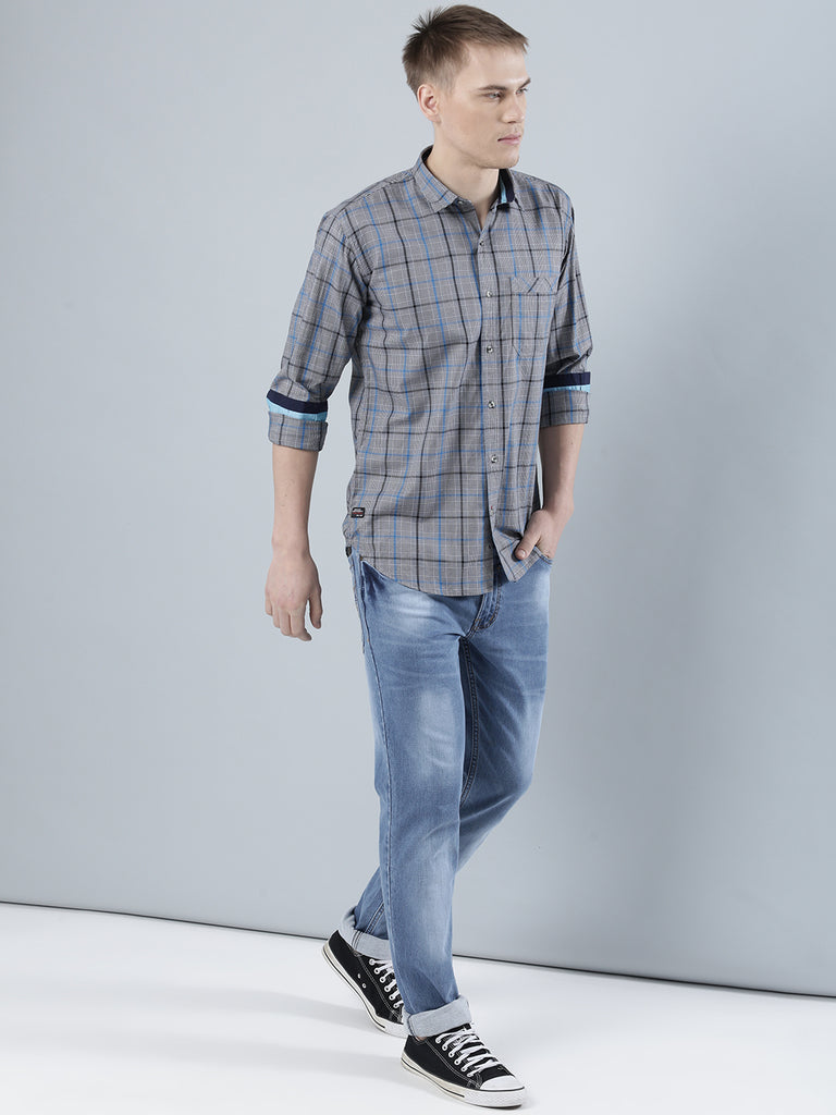 COBB Grey Checked Slim Fit Casaul Shirt