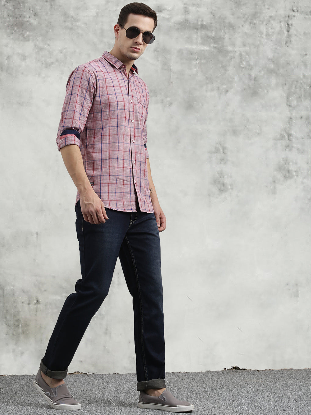 COBB Maroon Checked Slim Fit Casual Shirt