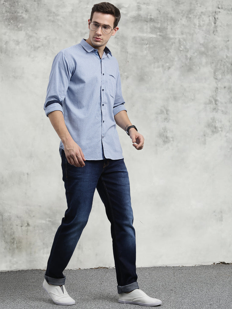 COBB Blue Checked Slim Fit Casual Shirt