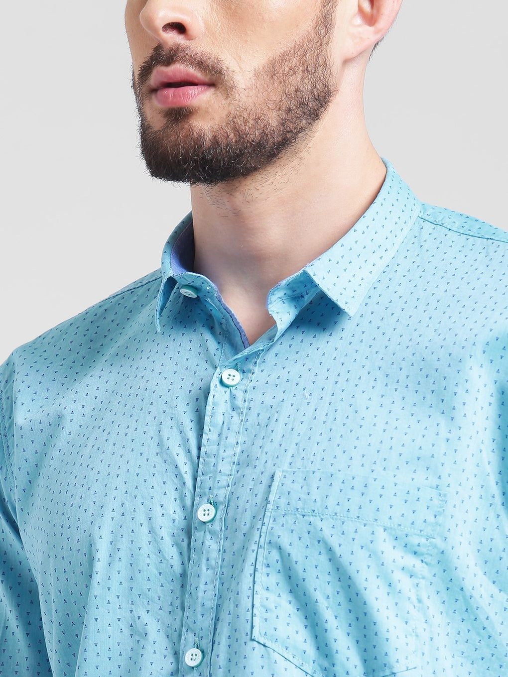 cobb turquoise slim fit casual shirt