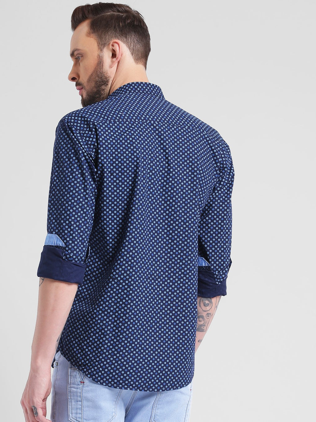 cobb dark blue slim fit casual shirt