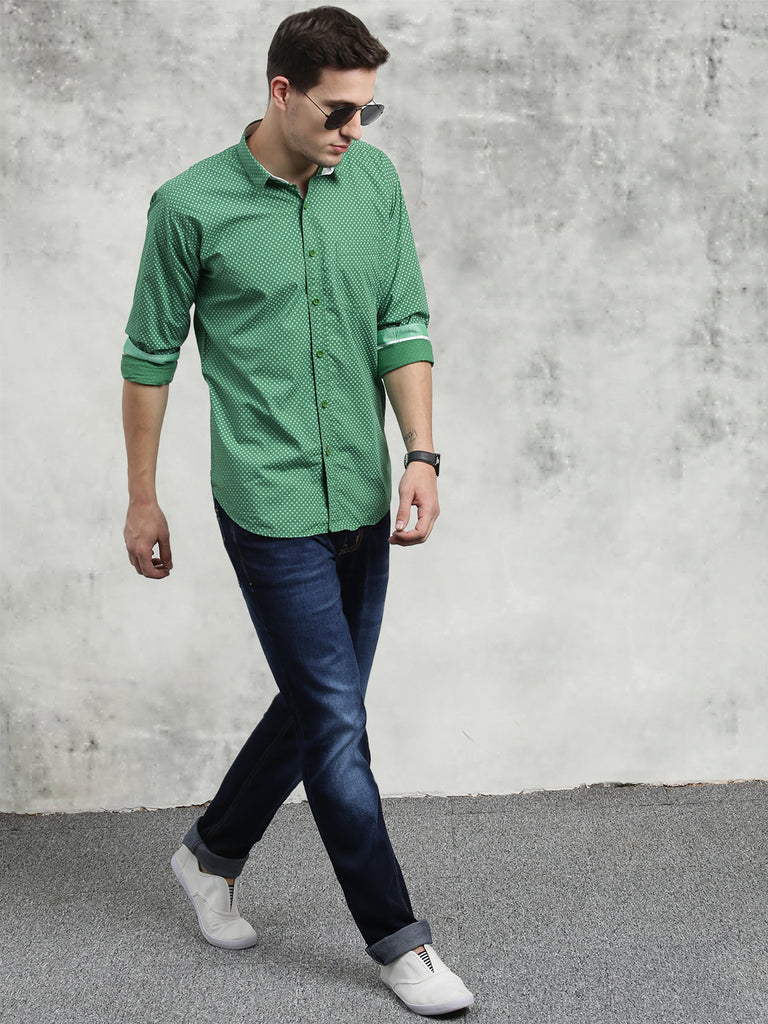 COBB Green Printed Slim Fit Casual Shirt