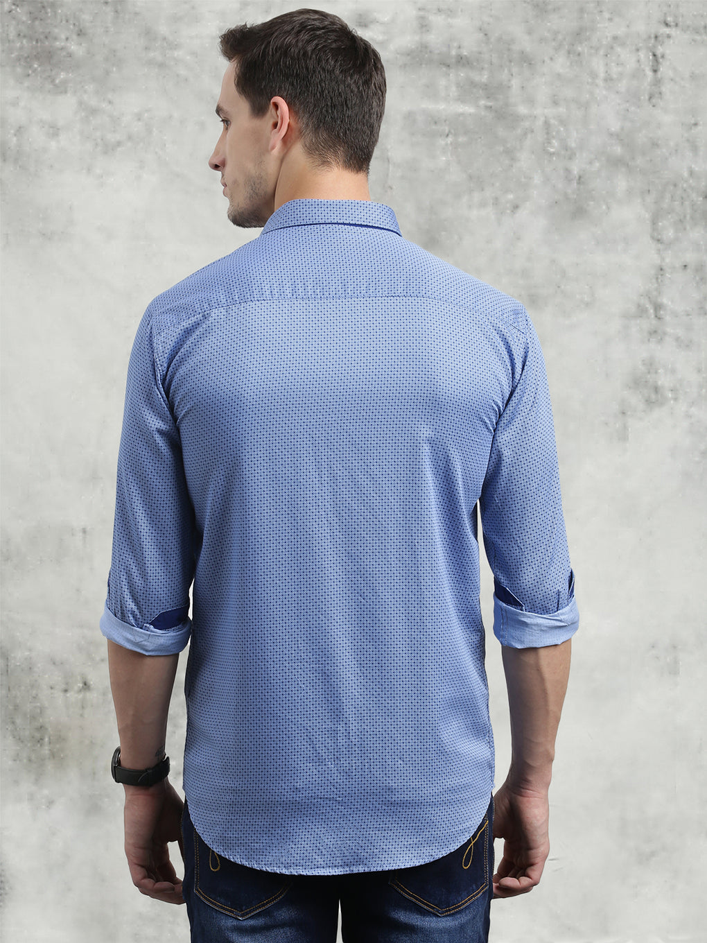 COBB Blue Printed Slim Fit Casual Shirt