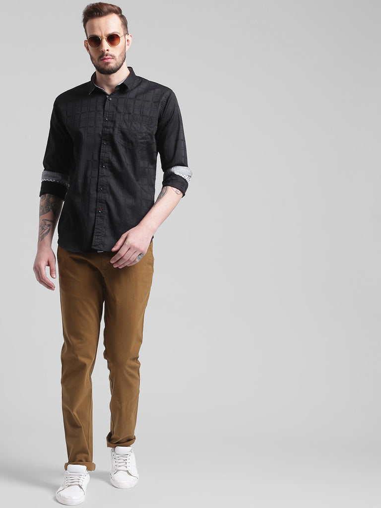 cobb black slim fit casual shirt