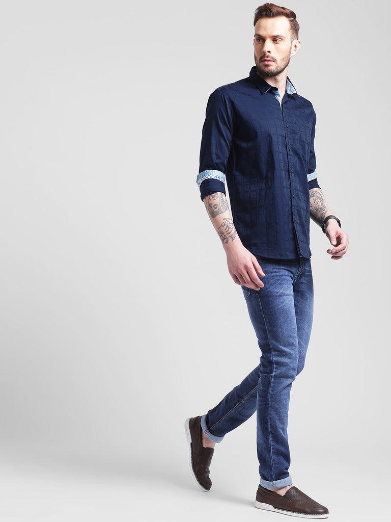 cobb navy slim fit casual shirt