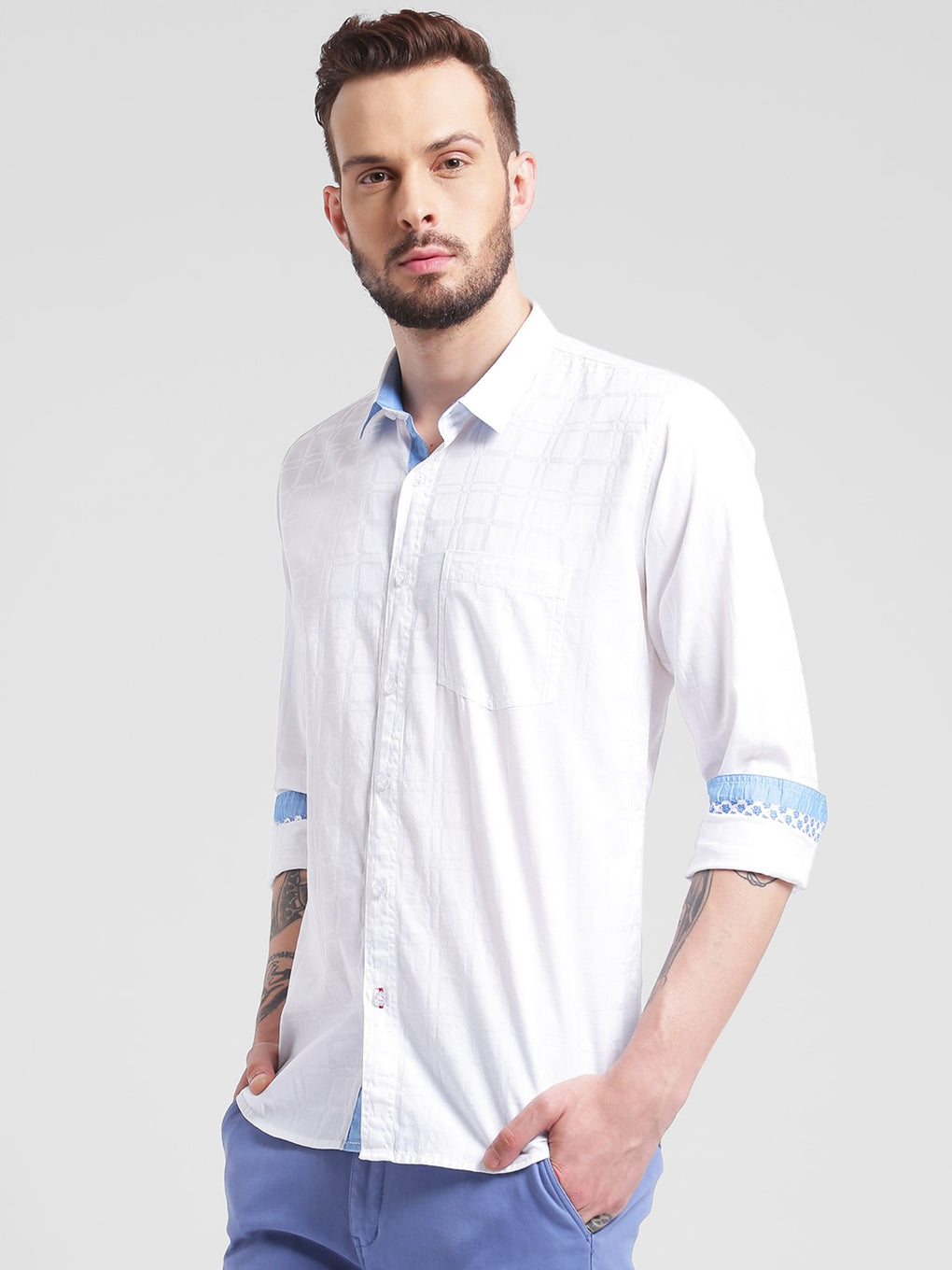 cobb white slim fit casual shirt