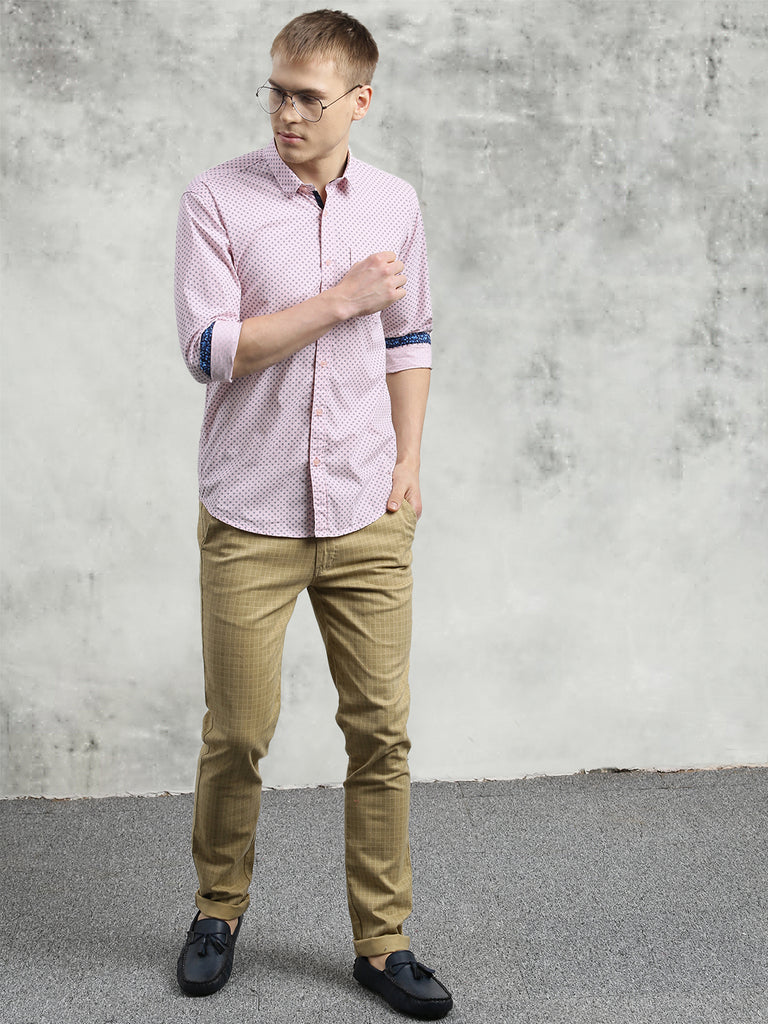 COBB Pink Printed Slim Fit Casual Shirt