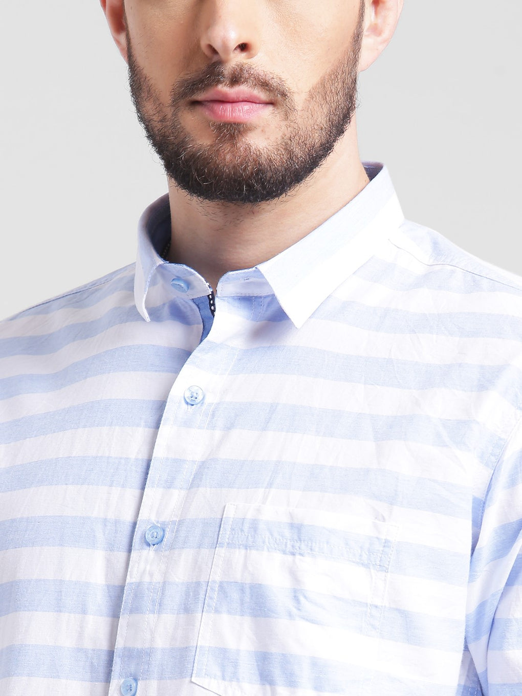 cobb sky blue slim fit casual shirt