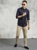 COBB Navy Blue Printed Slim Fit Casual Shirt