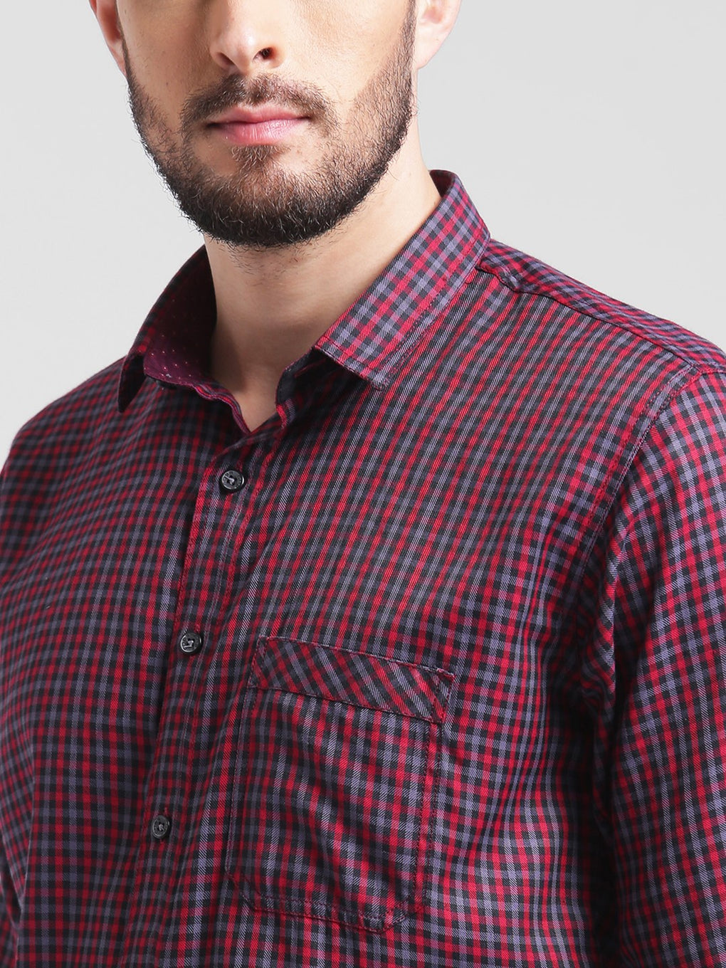 cobb red slim fit casual shirt
