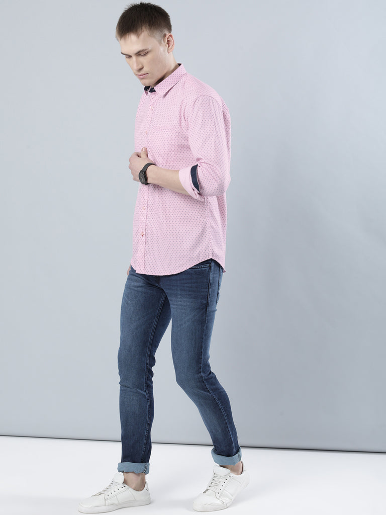 COBB Pink Printed Slim Fit Casaul Shirt