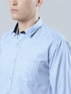 COBB Blue Printed Slim Fit Casaul Shirt