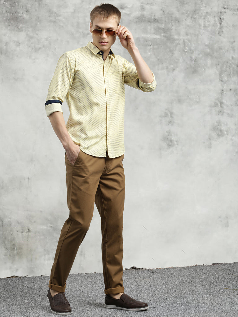 COBB Yellow Printed Slim Fit Casual Shirt