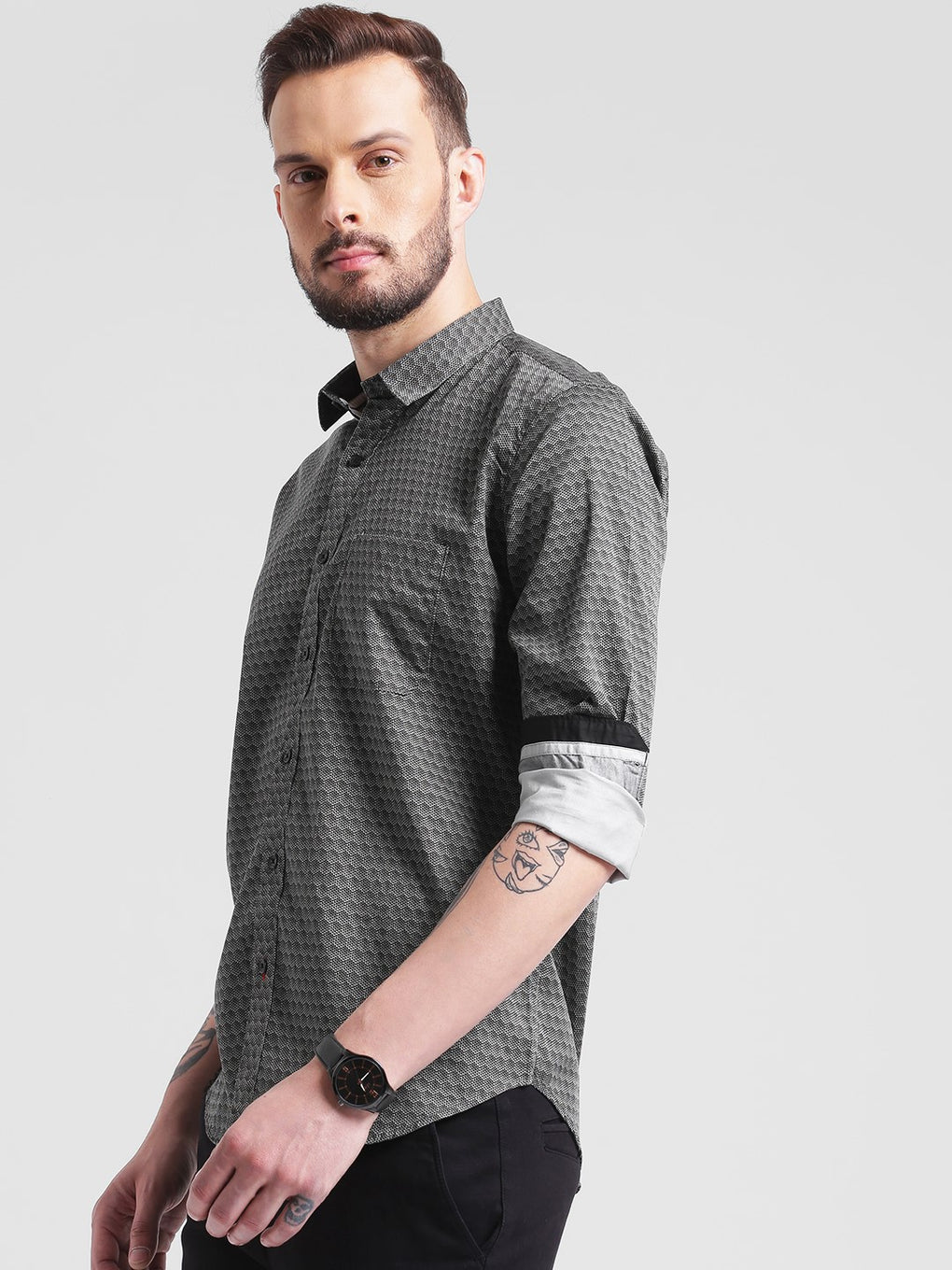 cobb grey slim fit casual shirt