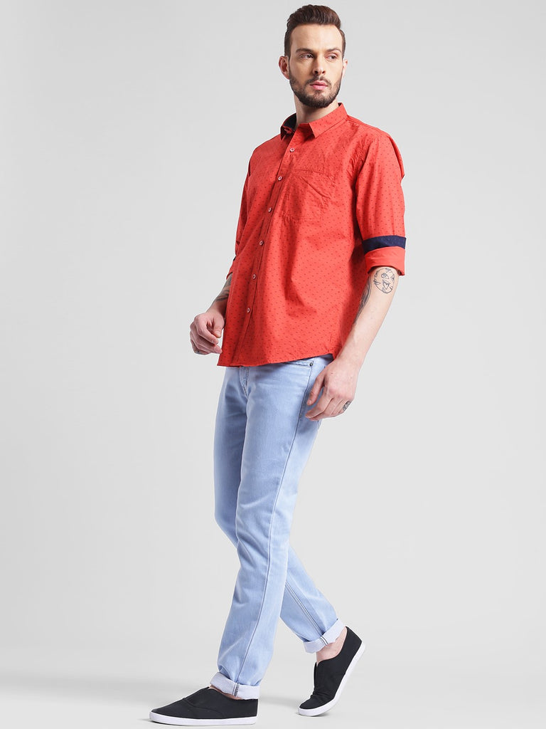 cobb orange slim fit casual shirt