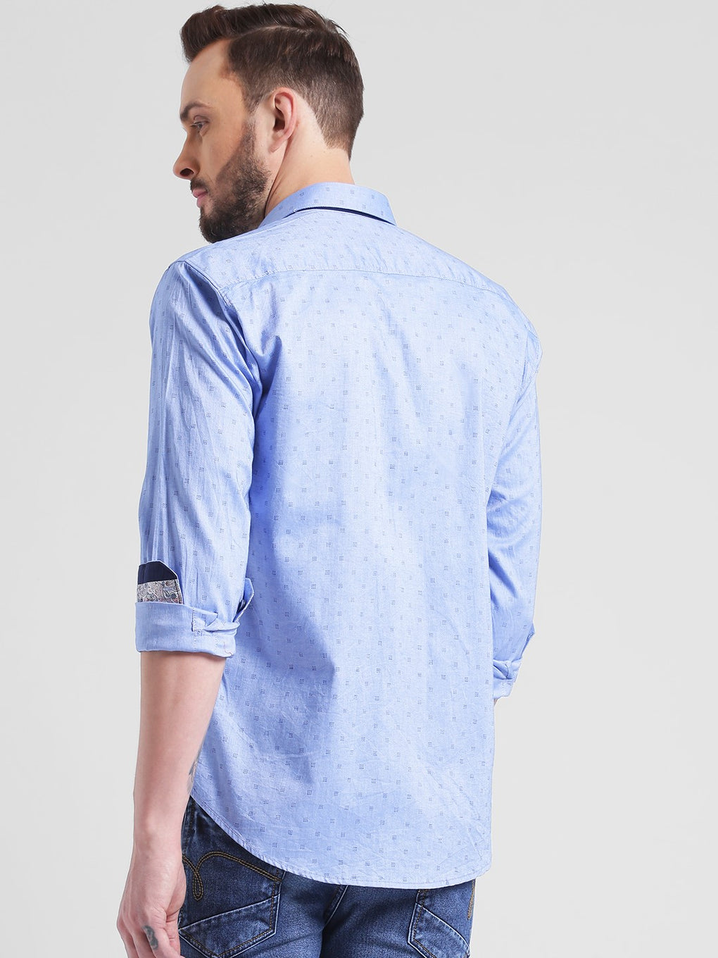 cobb blue slim fit casual shirt