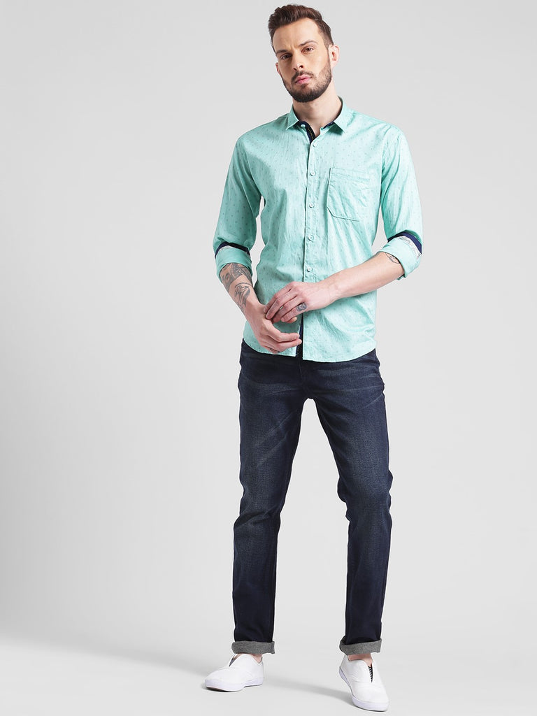 cobb green slim fit casual shirt