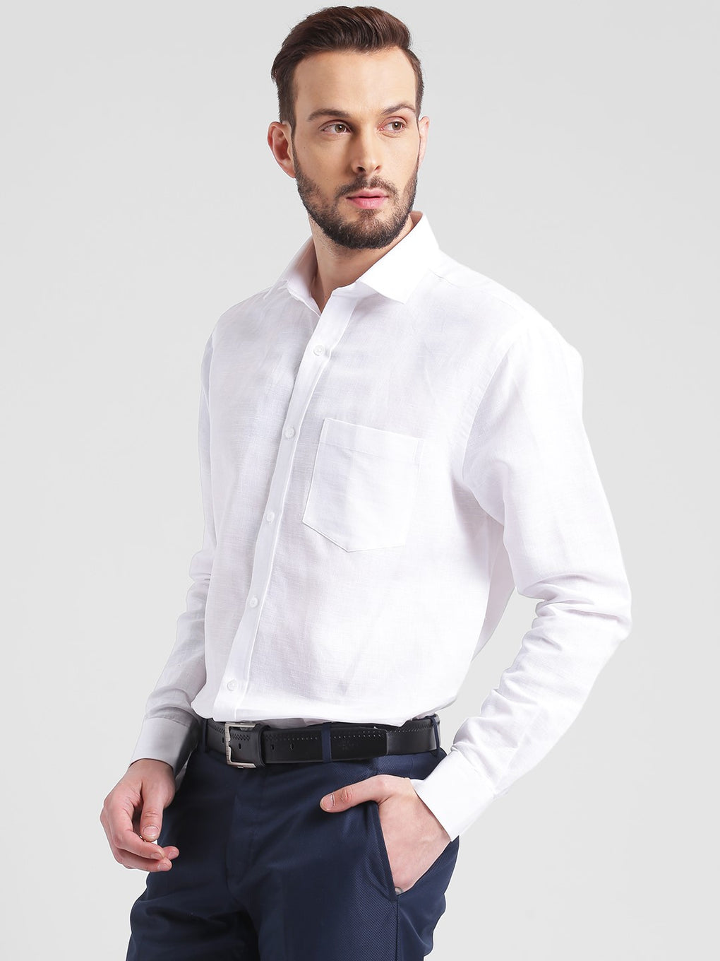 cobb white slim fit formal shirt