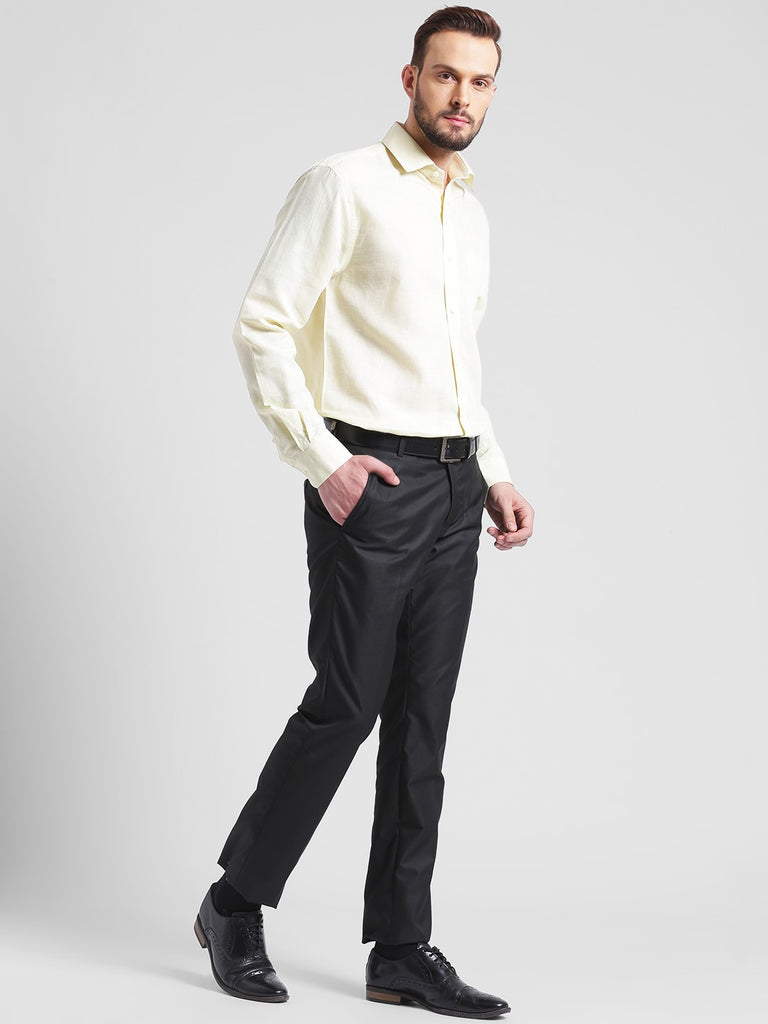 cobb yellow slim fit formal shirt