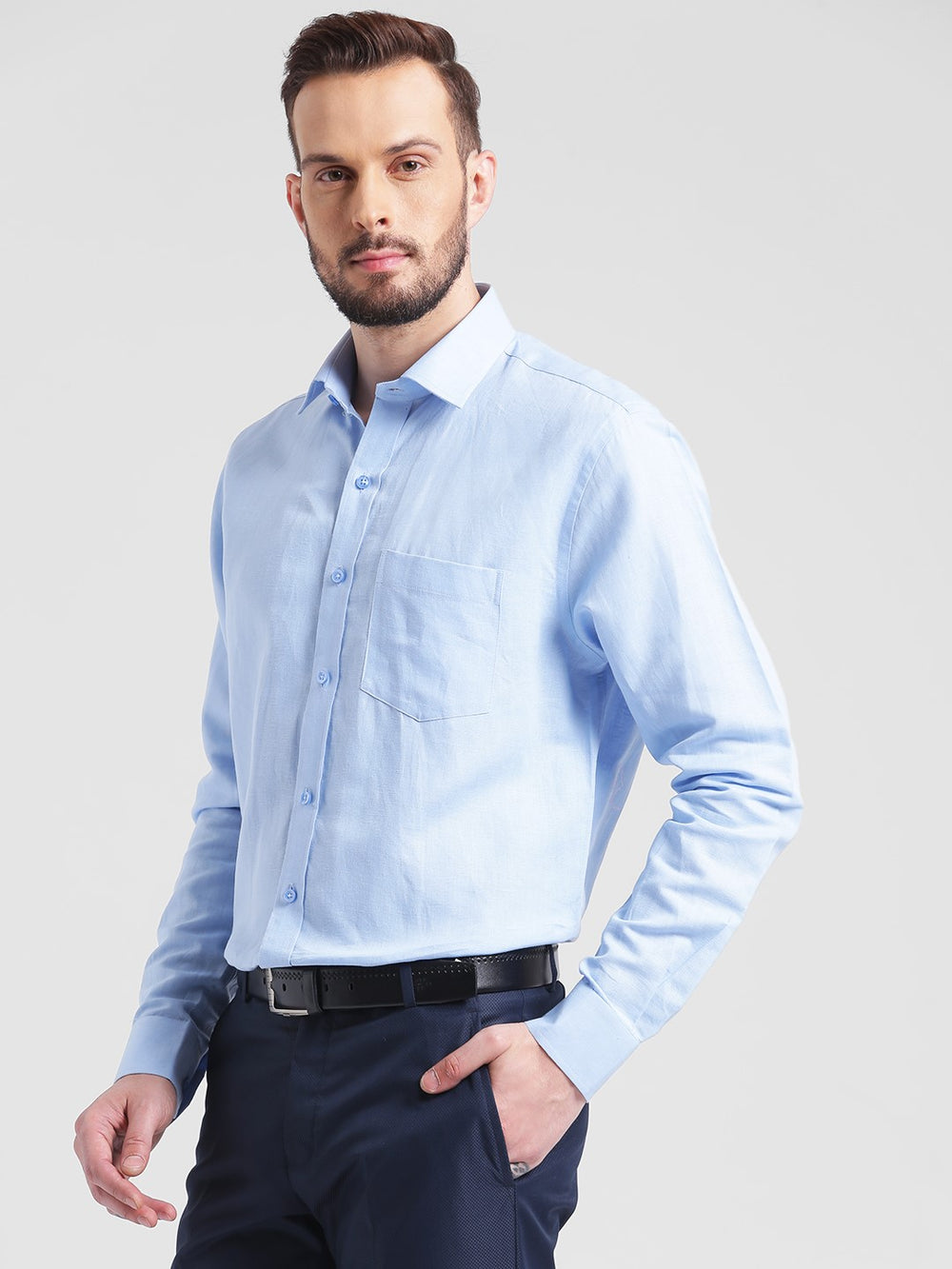cobb blue slim fit formal shirt