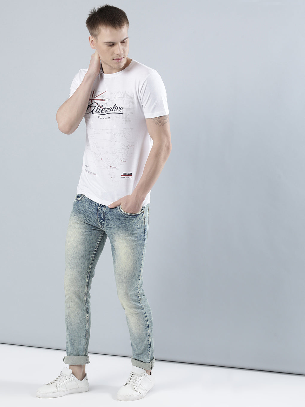 COBB Green Washed Slim Fit Jeans