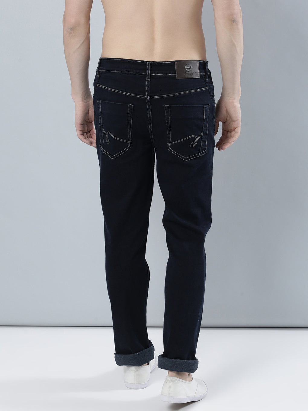 COBB Navy Blue Solid Slim Fit Jeans