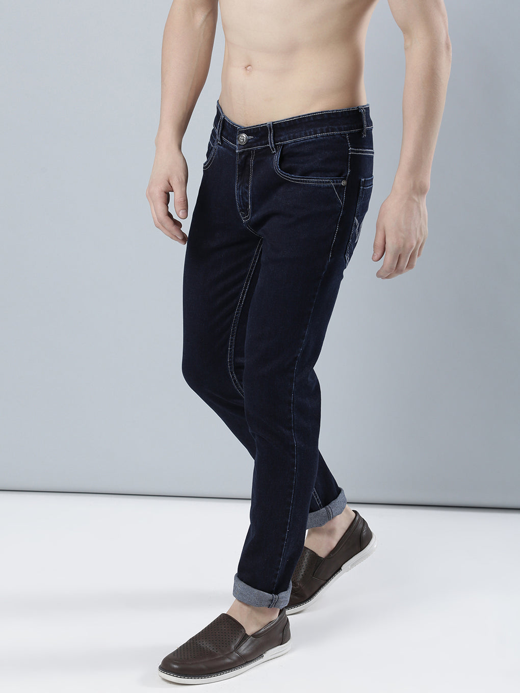 COBB Blue Solid Slim Fit Jeans