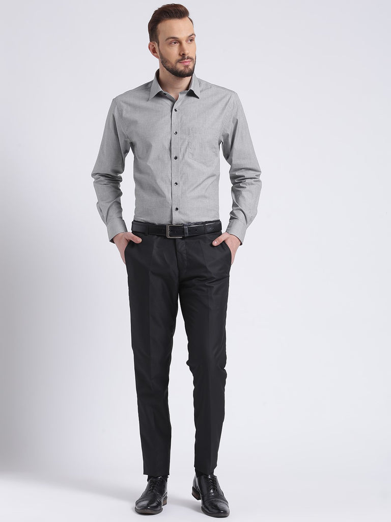 cobb grey slim fit formal shirt