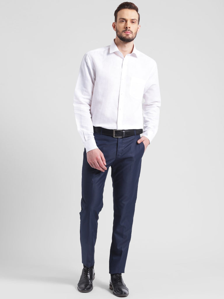 cobb blue slim fit formal trouser