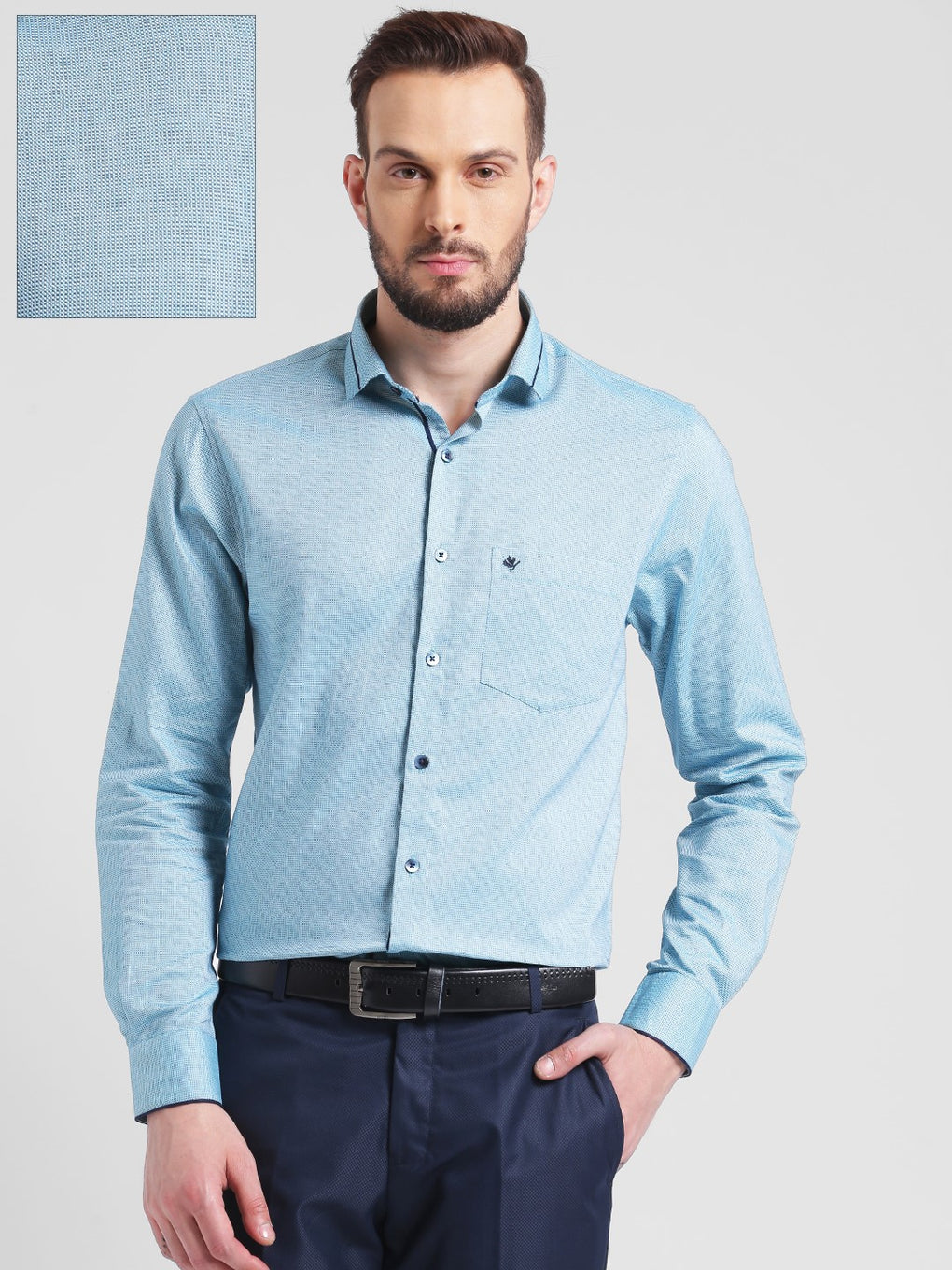 cobb green slim fit formal shirt