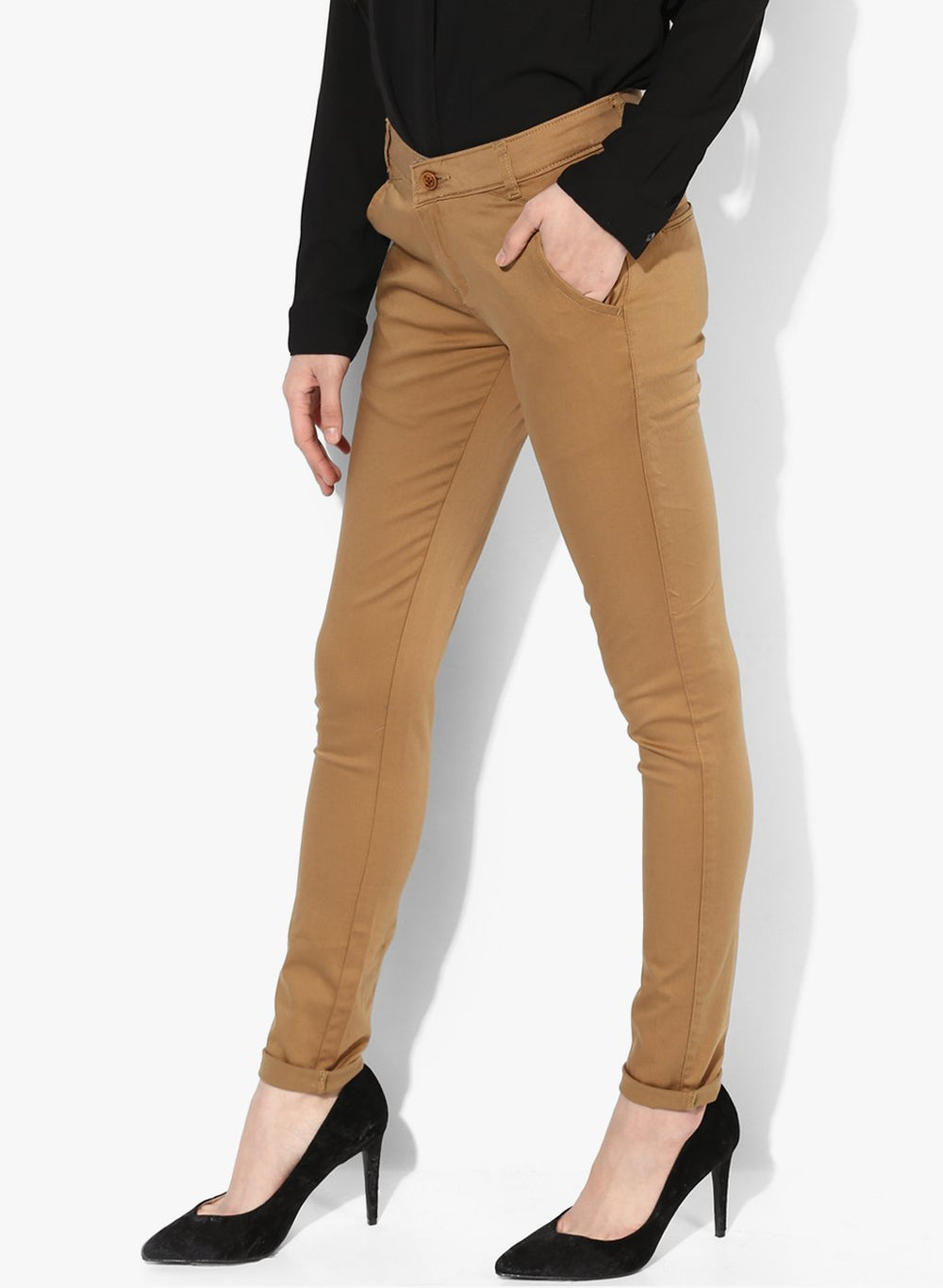 miss forever khaki slim fit chinos