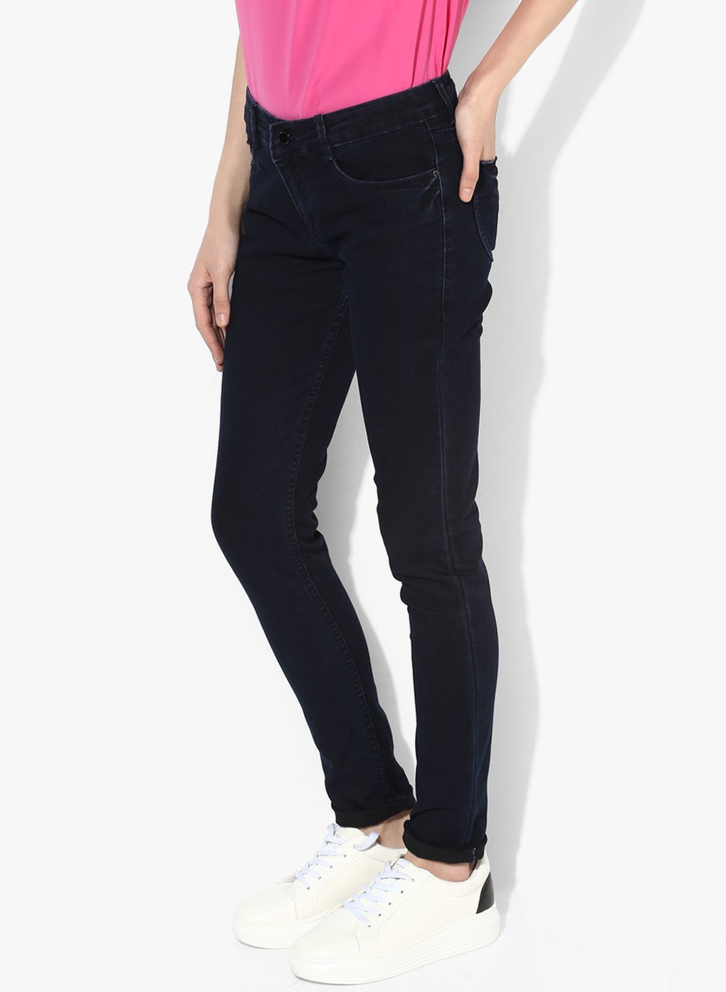 miss forever navy blue slim fit jeans
