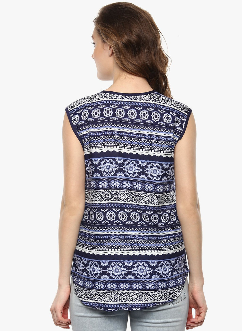 miss forever blue printed top