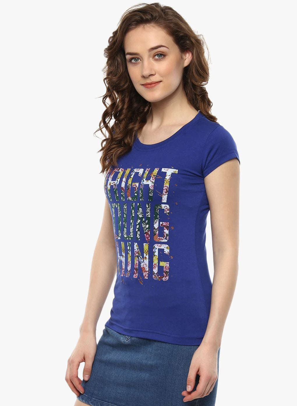 miss forever royal blue printed top
