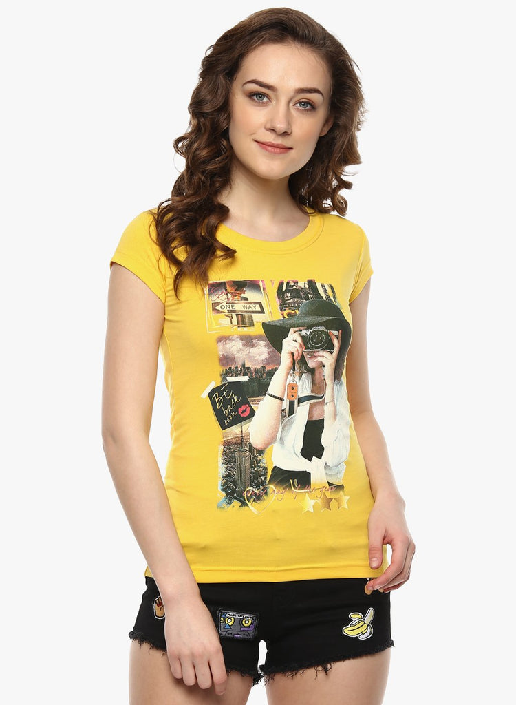 miss forever yellow printed top