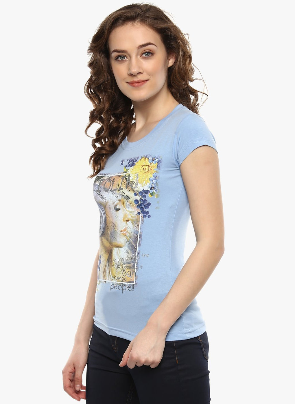 miss forever light blue printed top