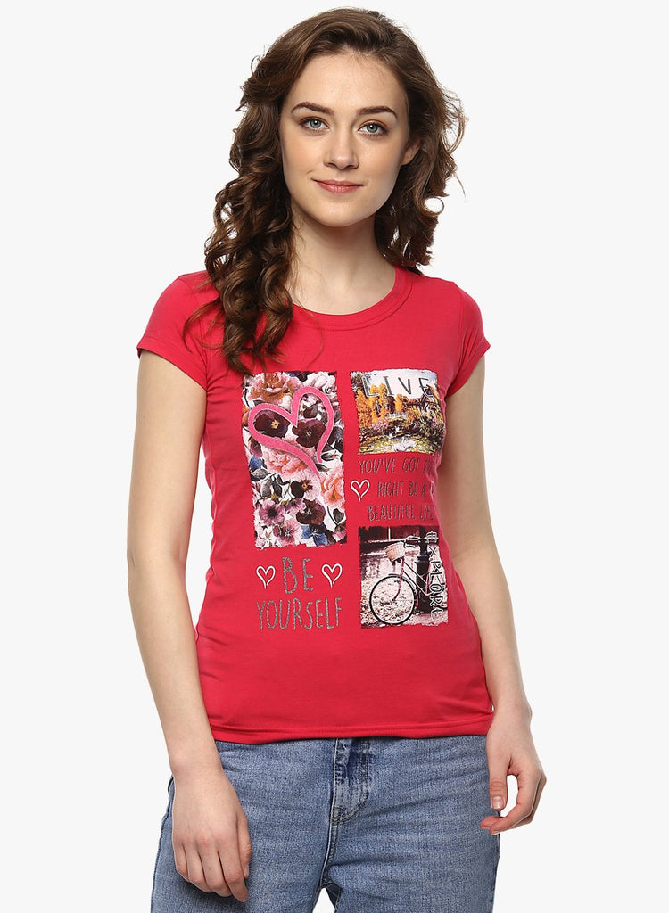 miss forever red printed top