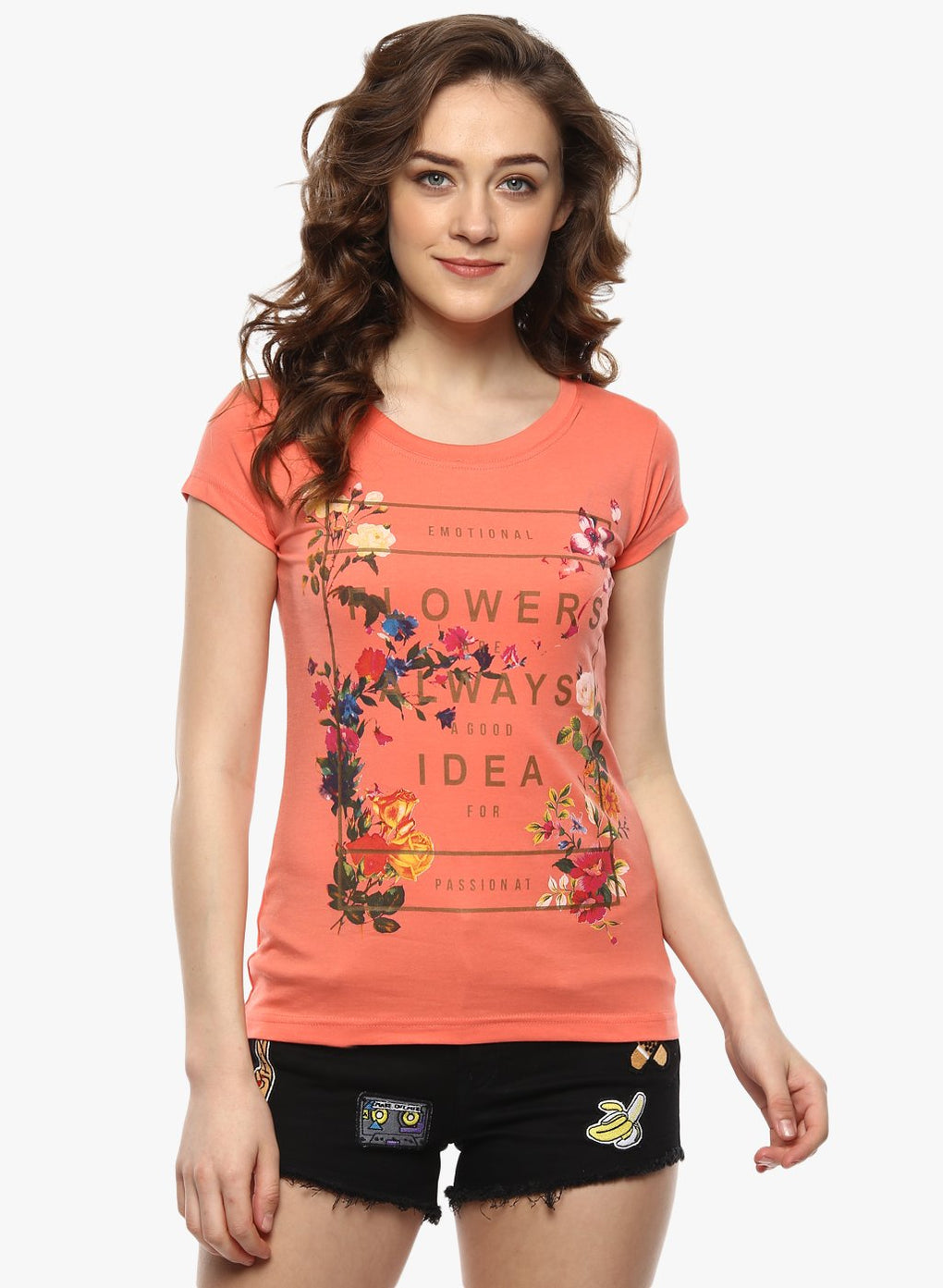 miss forever orange printed top
