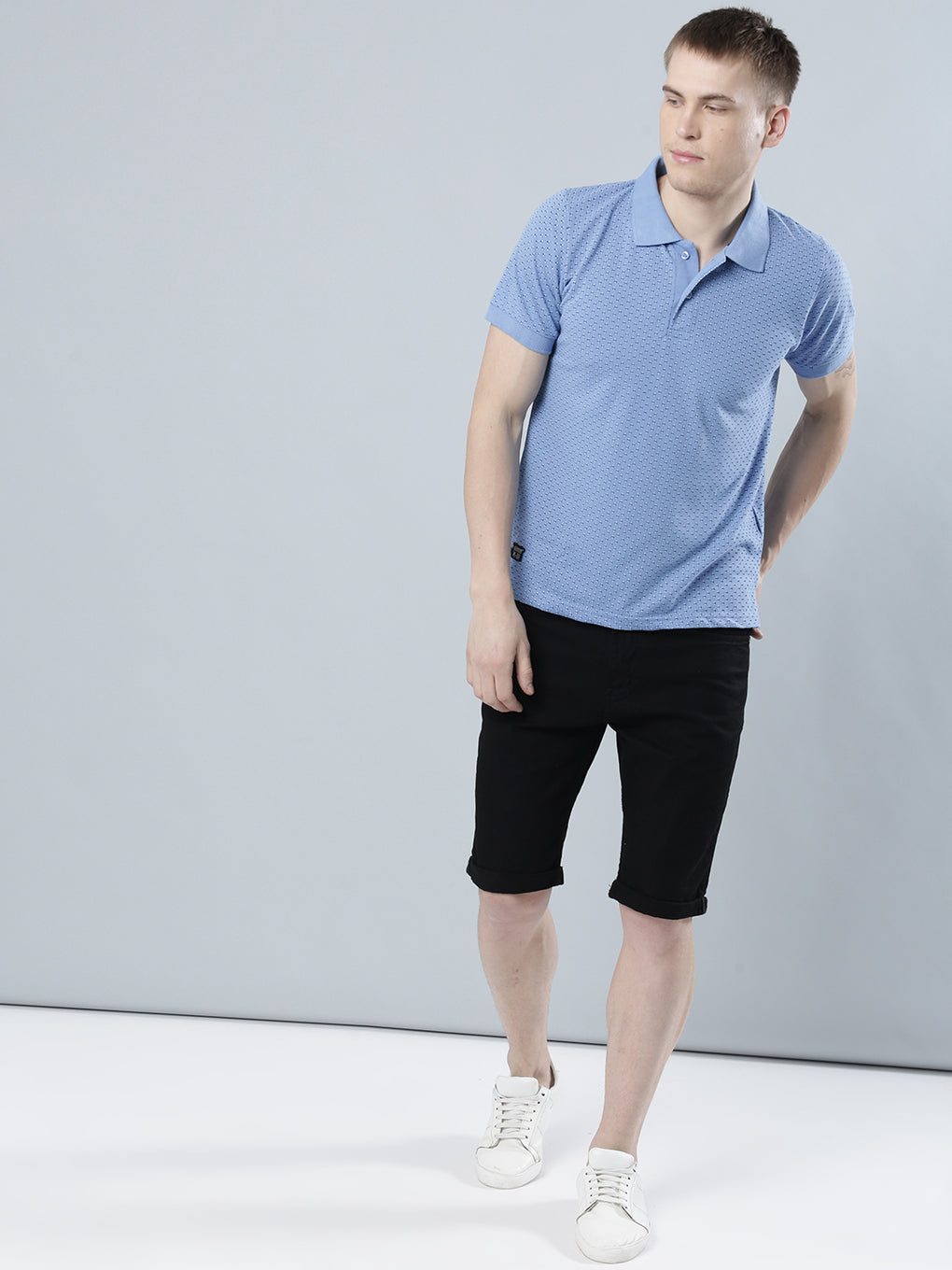 COBB Sky Blue Polo Collar T-Shirt