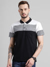 cobb black polo collar t-shirt