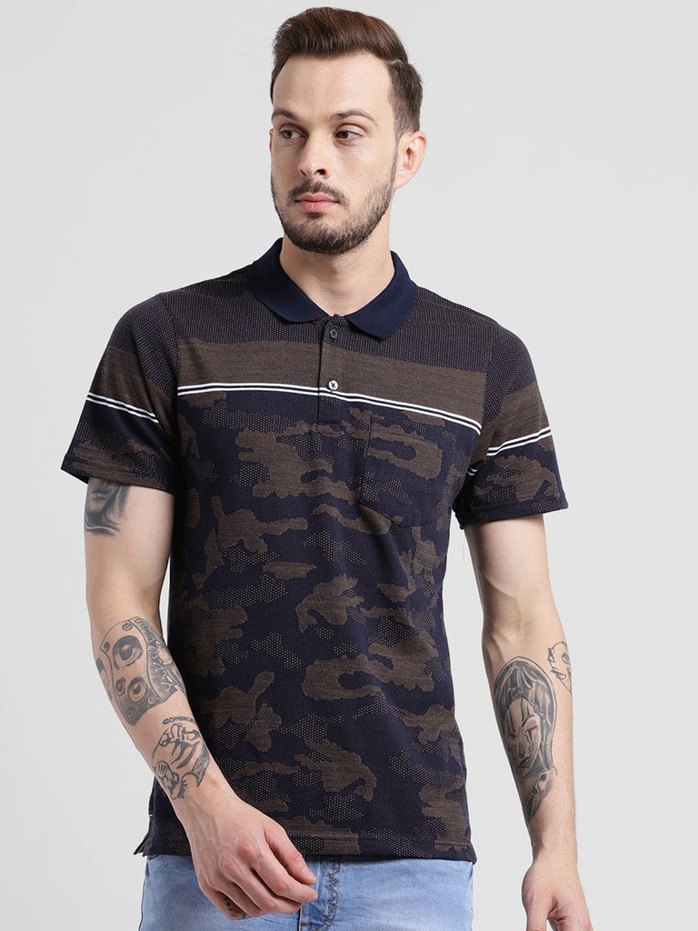 cobb brown polo collar t-shirt