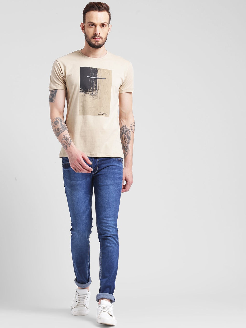 cobb cream round neck t-shirt