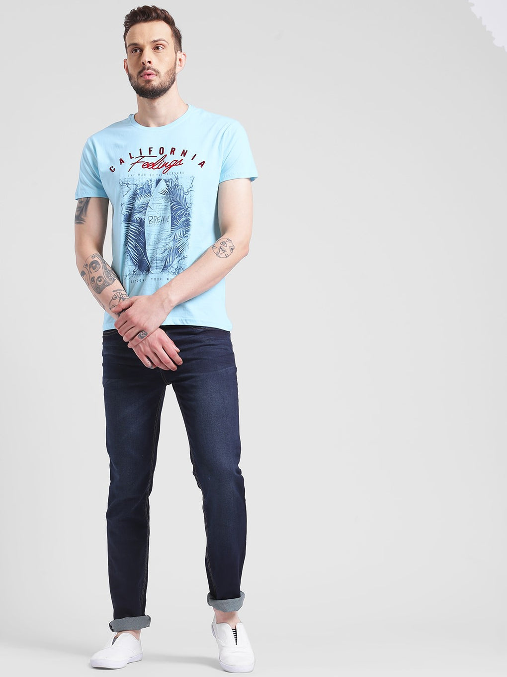 cobb sky blue round neck t-shirt