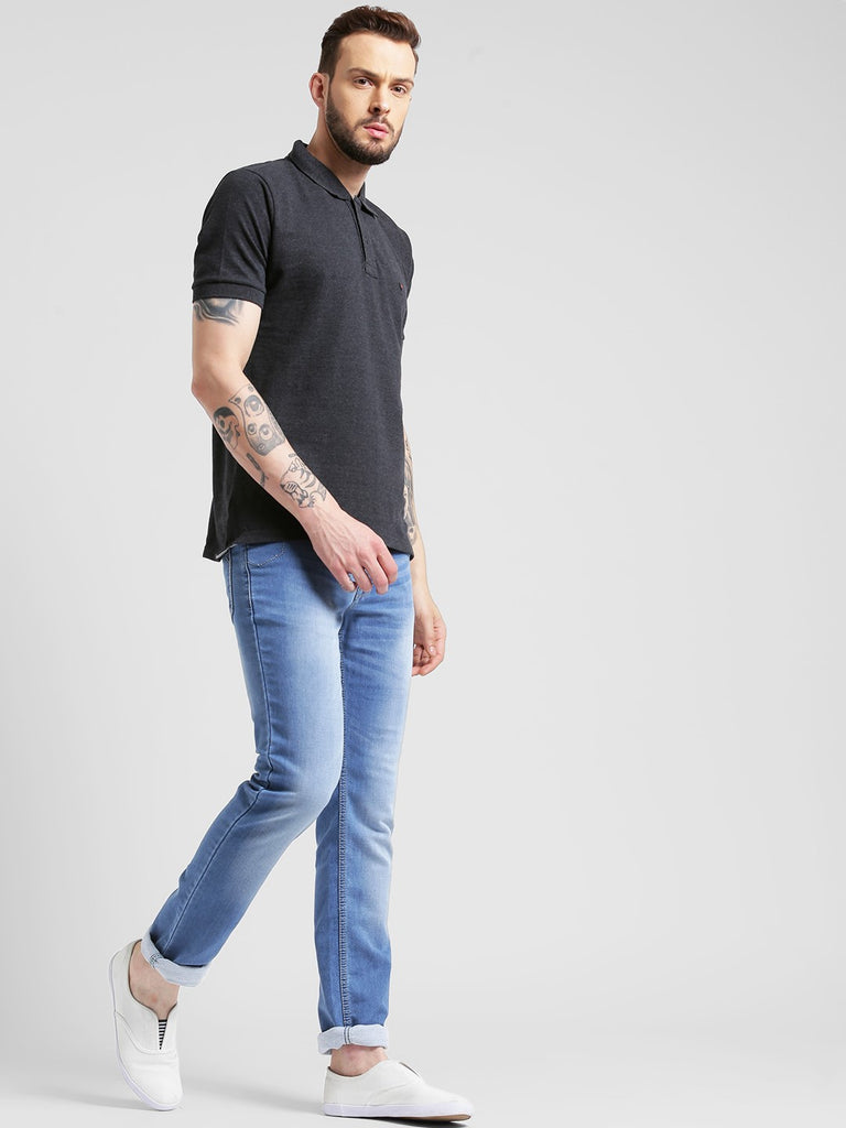 cobb charcoal polo neck t-shirt