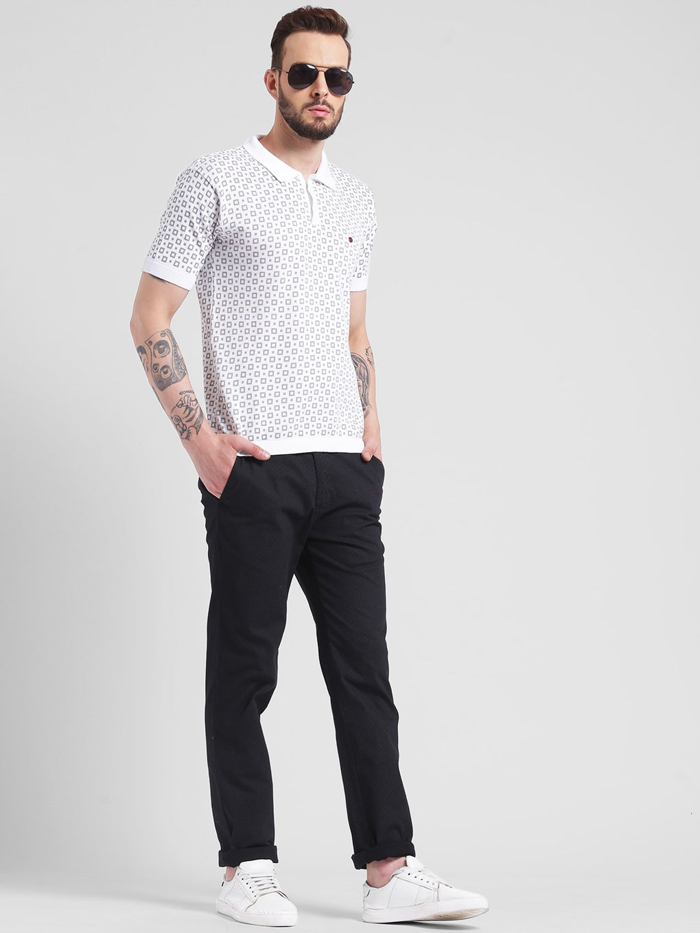 cobb white polo neck t-shirt