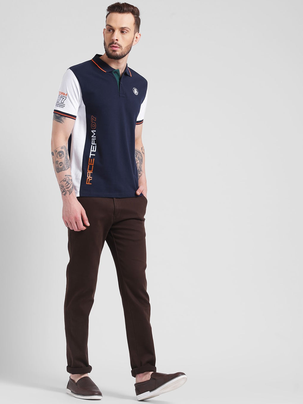 cobb navy polo neck t-shirt
