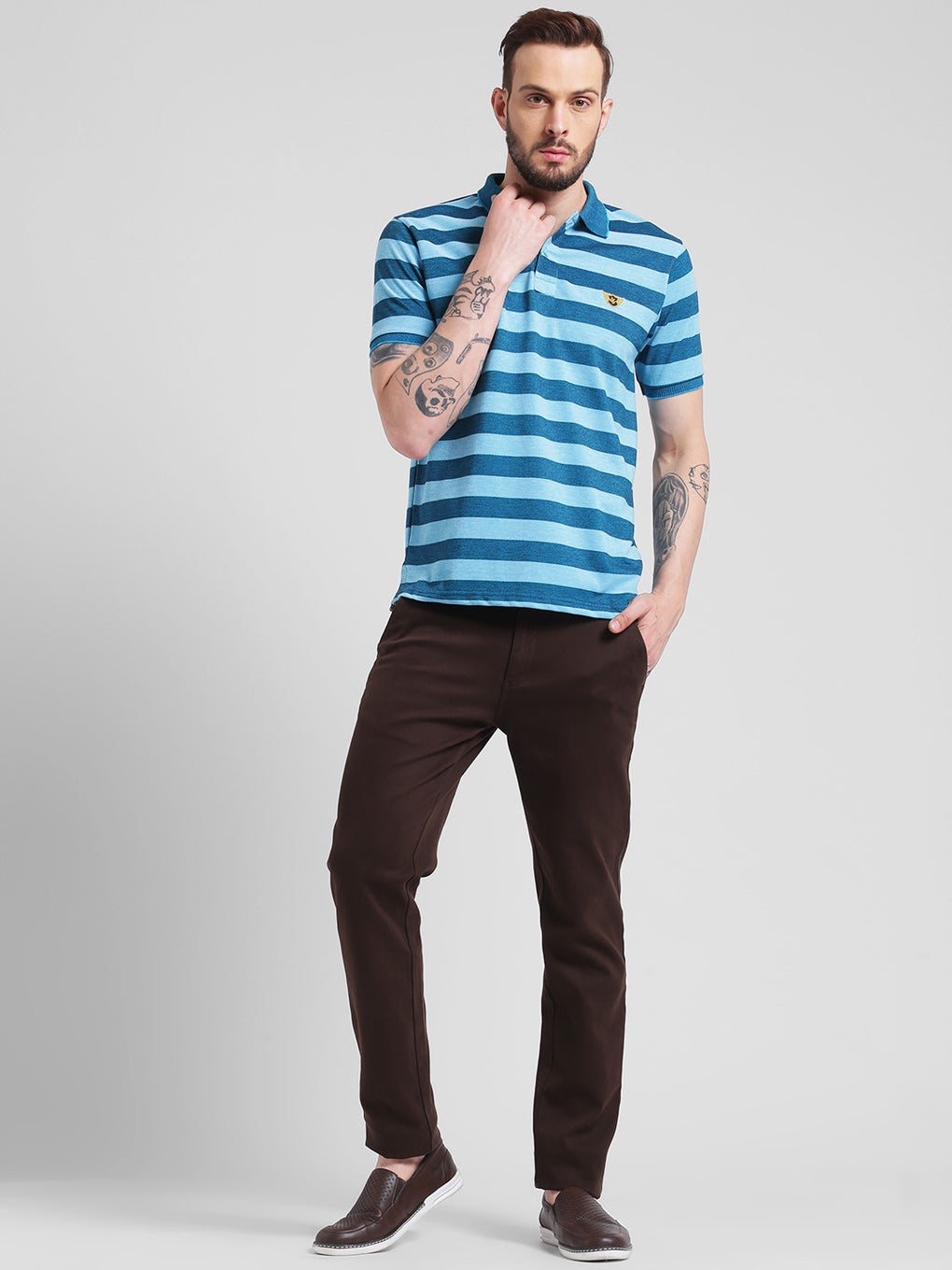 cobb blue polo neck t-shirt